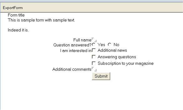 Form with shared action as viewed in Notes client